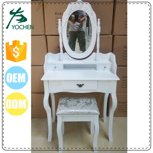 Modern Fashion Bedroom Makeup Furniture Teak Wood Dressing Table with Swing Mirror Stool and Mail Order Pack
