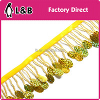 2015 yellow elegant beads Fringed lace trim with sequin