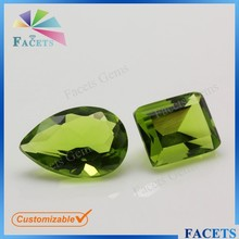 FACETS GEMS Wholesale Customizing Pear Shape Emerald Green Jade Stone Glass