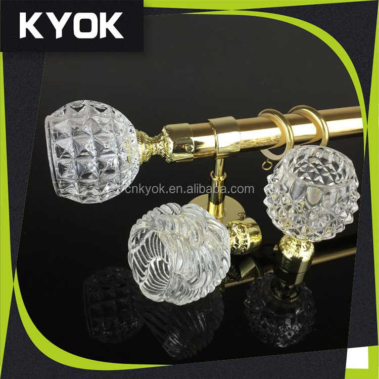Creative design wrought iron curtain rod /pole set, delicate clear acrylic crystal decorative curtain rod finials