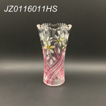 Wholesale 2017 New design elegant trumpet shape cylinder crystal glass vase with flower pattern for home decoration
