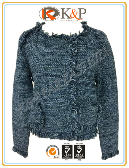 High quality knitted FW elegant 5 gg blue cotton tuck stitch round neck Ladies Sweater