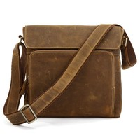 7051B-1 100% Genuine Crazy Horse Leather Men's Brown Messenger Cross Body Shoulder Bag