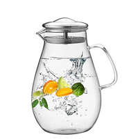 64 Ounces Glass Pitcher with Stainless Steel Lid, Water Carafe with Handle Good Beverage Pitcher for Homemade Juice and Iced Tea