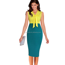 2018 New Fashion OL Women Ladies Office Dress Clothes Knee-length Bodycon Slim Pencil Party Dress with the pockets