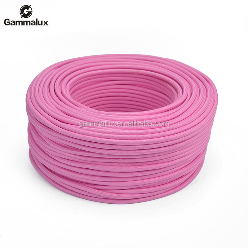 Pink Braided Cotton Cable, Braided Cloth Wire Round