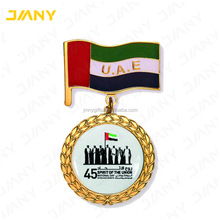 Custom UAE National Day Falcon Lapel Pin Badges with Ribbon