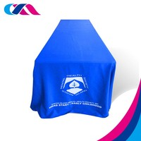 custom print polyester table cover , trade show promotion table cloth for event