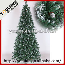 white snowing christmas stick trees with clear ligths