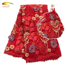 High quality 3d beaded african lace embroidered net dress fabric with rhinestone 5yards for wedding party dress