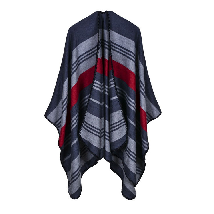 Winter Brand Women Poncho Winter New Cashmere Poncho Cape Plaid Imitation Wool Scarf