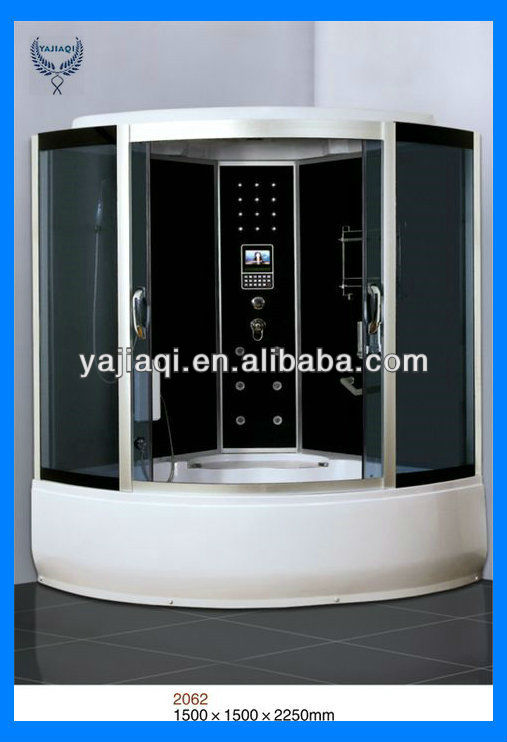 2013 factory temper fashional glass shower steam room with lcd tv
