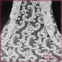 White flower beaded fabric embroidery lace, bridal mesh cord lace fabric for wedding dress