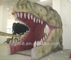 Life-size dinosaur head door for sale and life-size shark head for sale from 12 years experience Chinese manufacture