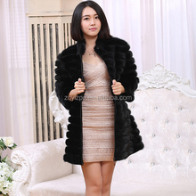 Dyed mink tail fur material Genuine Mink Fur Coat with detachable sleeve