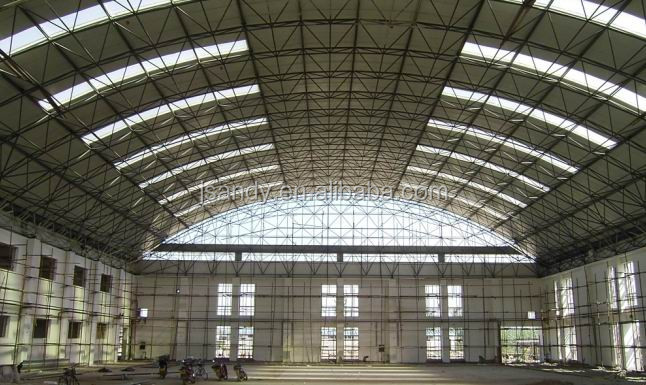 Aircraft Hangar with Large Span Steel Truss Roof Space Frame Design