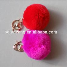 rabbit fur ball key ring fur pom poms wool yarn fur ball keychain with coin purse