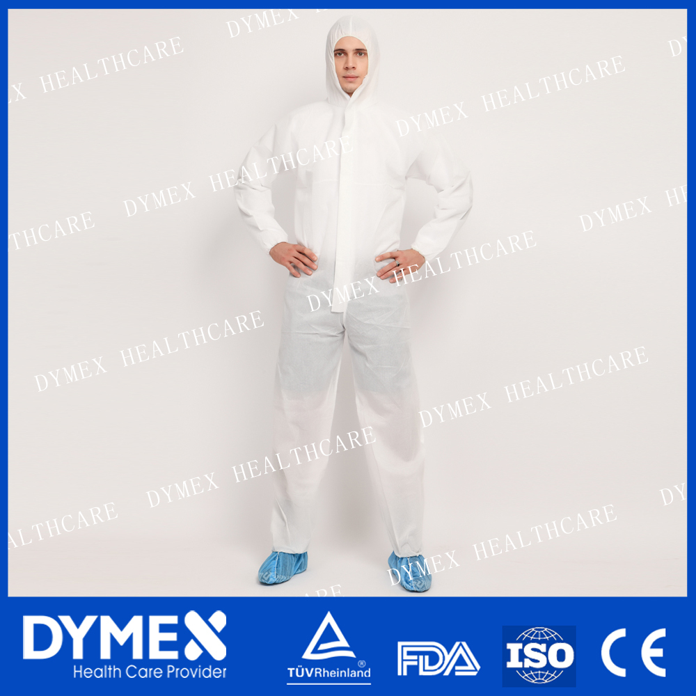 White Thumb up Disposable Nonwoven Coveralls With Tape And Hood And Anti Slip Shoe