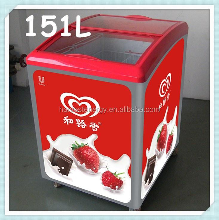 151l kleinen mini glast r gefriertruhe glas schiebe deckel eis anzeige gefrierschrank mit. Black Bedroom Furniture Sets. Home Design Ideas