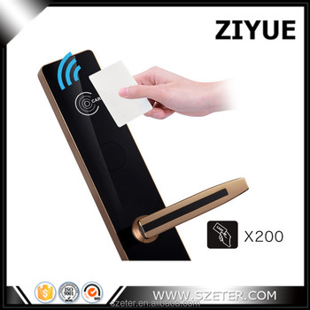 Luxury Electronic Swipe RFID Card Hotel Smart Reader Door Lock with Software System