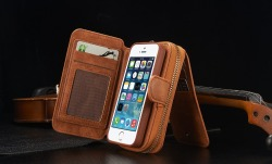 Covery newest multifunctional genuine leather wallet/mirror/bag/portable cover case for iphone 5 5s se