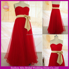 SW1183 Long Tulle Skirt Red Patterns for Bridesmaid Dresses With Gold Sash