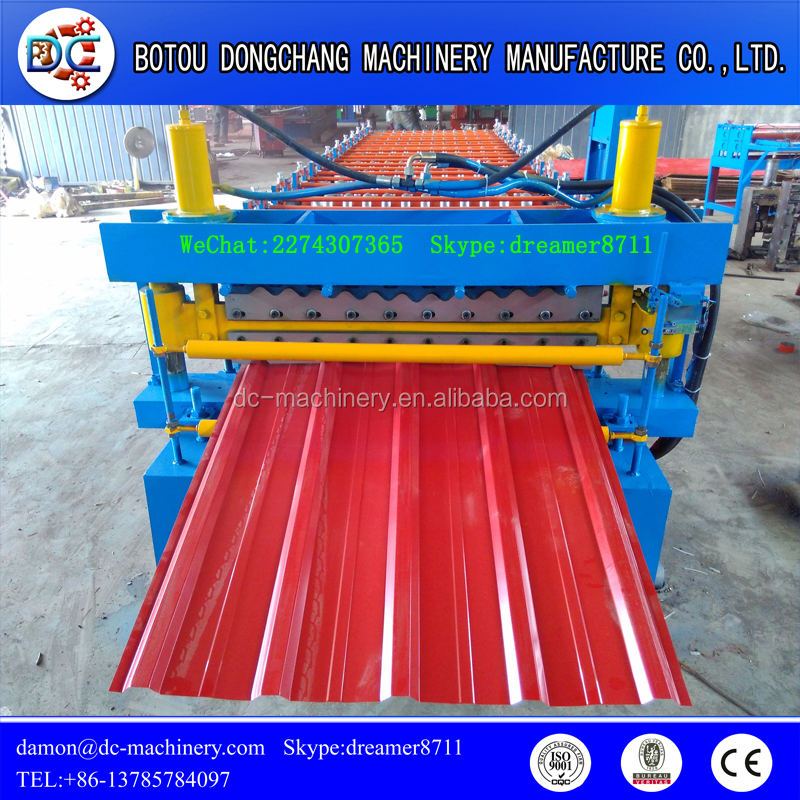 Most popular fully automatic control cutting double layer colored roofing plate tile sheet roll forming making machine