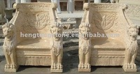 Handcarved Travertine Lion Chairs Pairs