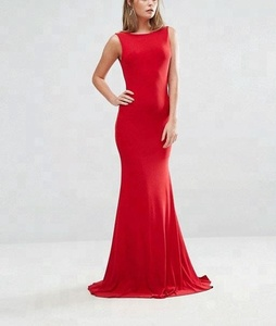 Sexy Deep plunge Back Sleeveless Red Formal Maxi Dress Women