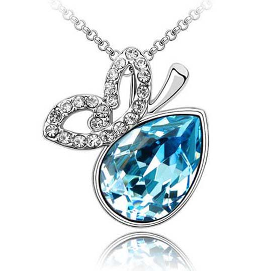 Free shipping love teardrop jewelry necklace Crystal From Swarovski