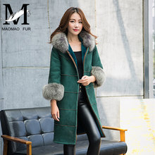 Cool Design Women Sheepskin Jacket With Big Raccoon Fur Collar Real Leather Double Face Jacket