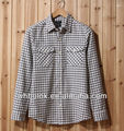 Hubei factory wholesale Mens casual check long sleeve shirt gingham shirt for men