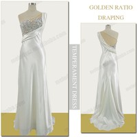 White nude imitated satin silver beaded women dresses party long wedding evening