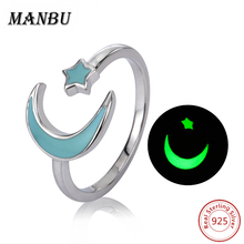 925 sterling silver luminous crescent moon open rings jewelry JR2553-P