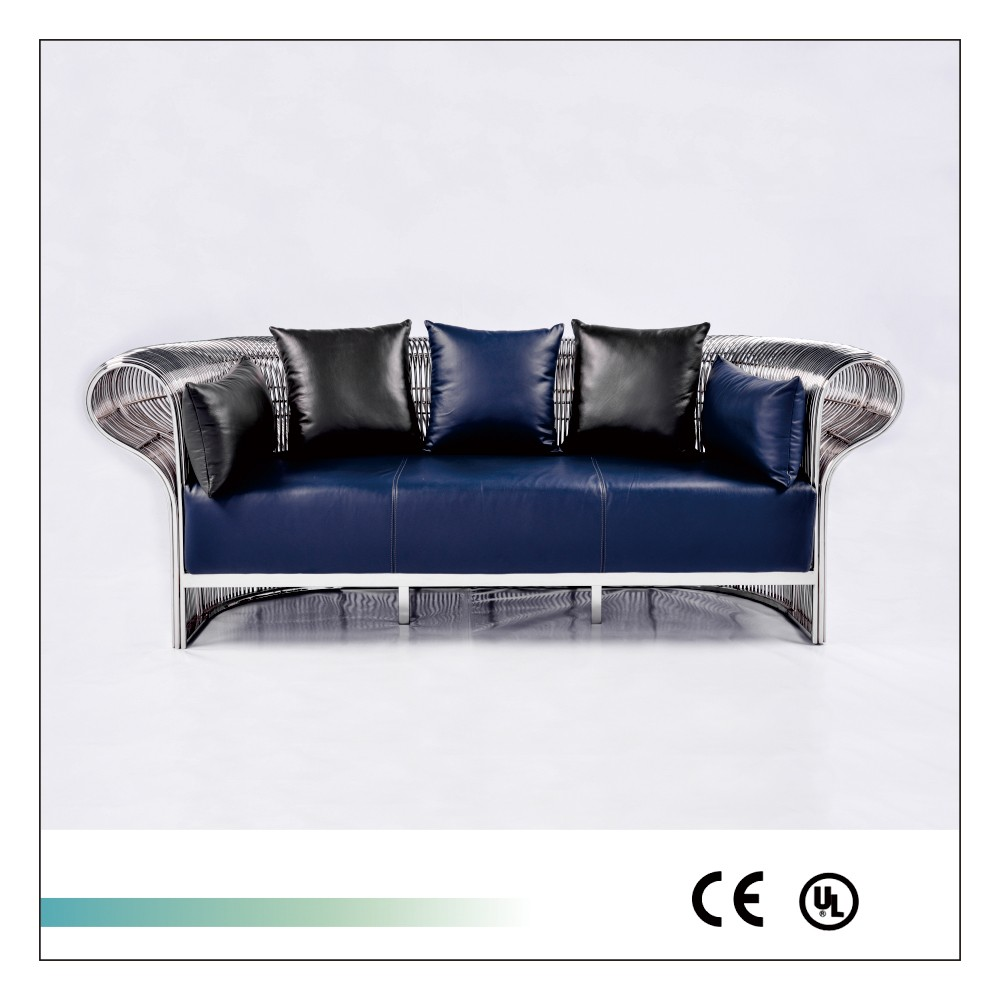 Goolee New Arrival Ornate Genuine Leather Stainless Steel Sofa Set