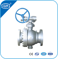 API JIS GOST DIN Standard Casting Steel Worm Gear Operation Trunnion Ball Valve