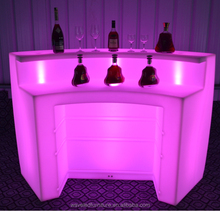 Mobile 24 RGB light up rechargeable acrylic movable illuminated LED bar counter