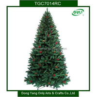 Artificial christmas trees with red berry and pine core