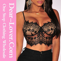 Latest Black Lace Padded Girls Party Wear Tops