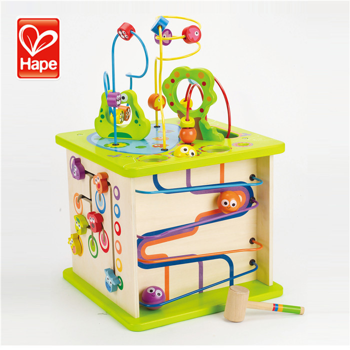 Hape brand name the colors on the cube safety modern wood toy