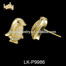 Mexican gold jewelry iced out penguin shaped gold 975 long chain jhumka earring jewelry accessory
