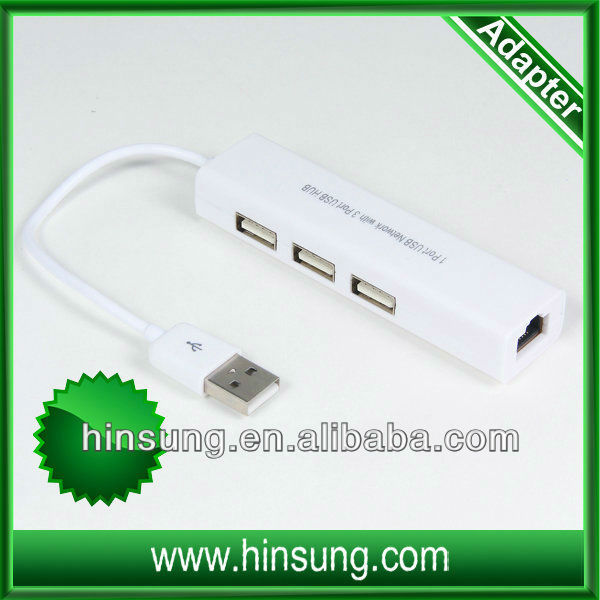 high quality!!! 3 ports usb hub+usb to lan port adapter