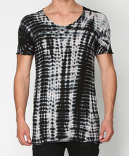 Scoop plunge neck tee shirt with black and white tie-dye colour (TF0008T)