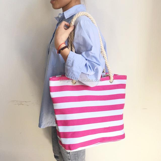 2018 Beach Tote Bag Fashion Custom Canvas Ladies Girls Bag