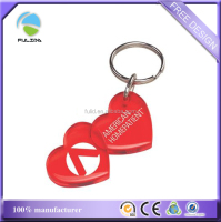 custom red double heart hard plastic keyring