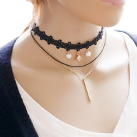 Vintage Black Leather Pearl Chokers Necklace For Accessories Women Collar