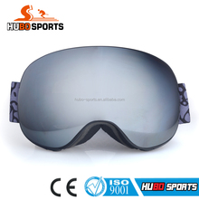 High quality mirrored lens adult snow goggles custom strap ski goggles