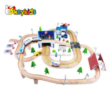 Wholesale intelligent 149 pcs railway transportation set wooden train tracks toy for baby W04C082