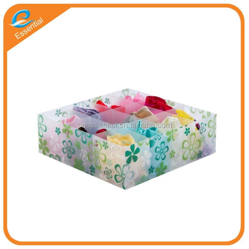 Bra and underwear organizer box, plastic packaging box for underwear