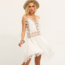 Spaghetti strap hollow crochet dress womens clothing